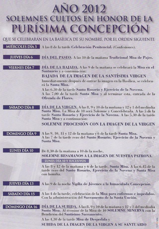 cultos Fiestas de la Virgen 2012