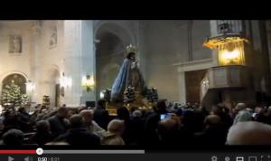 vídeo de la salida de la Virgen de la basílica y subida